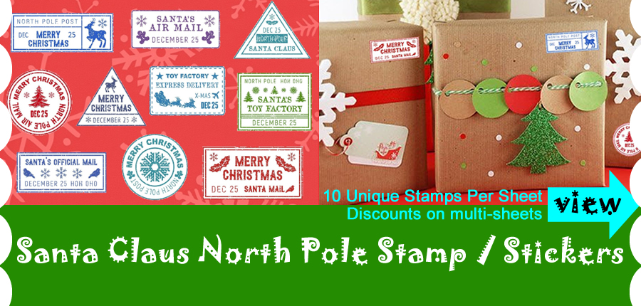 Christmas Stickers North Pole Mail